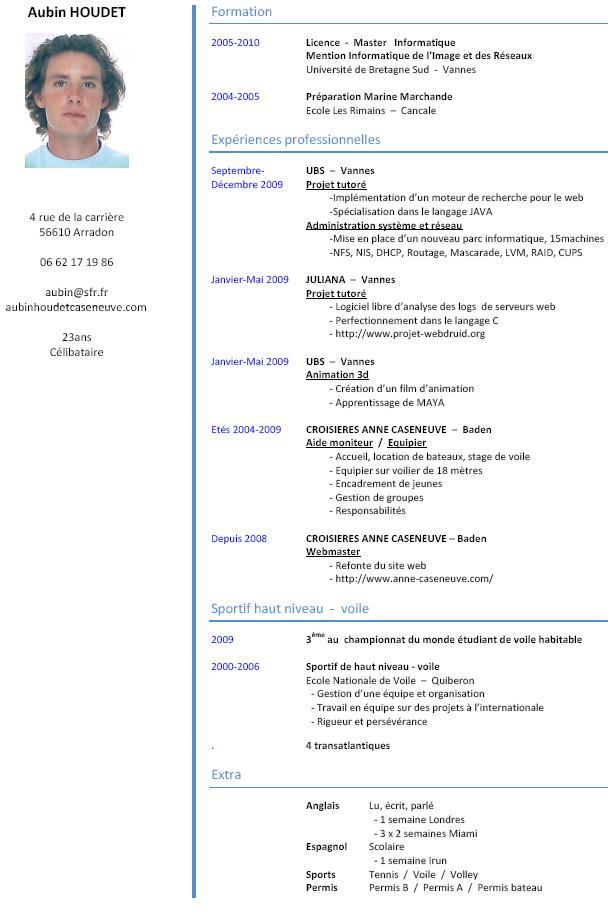 Exemple De Curriculum Vitae C V Best Custom Essay